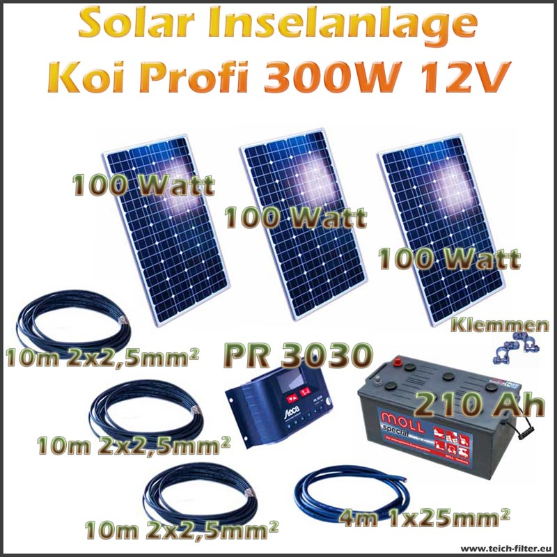300w 12v solar inselanlage profi koi als komplettset. Black Bedroom Furniture Sets. Home Design Ideas