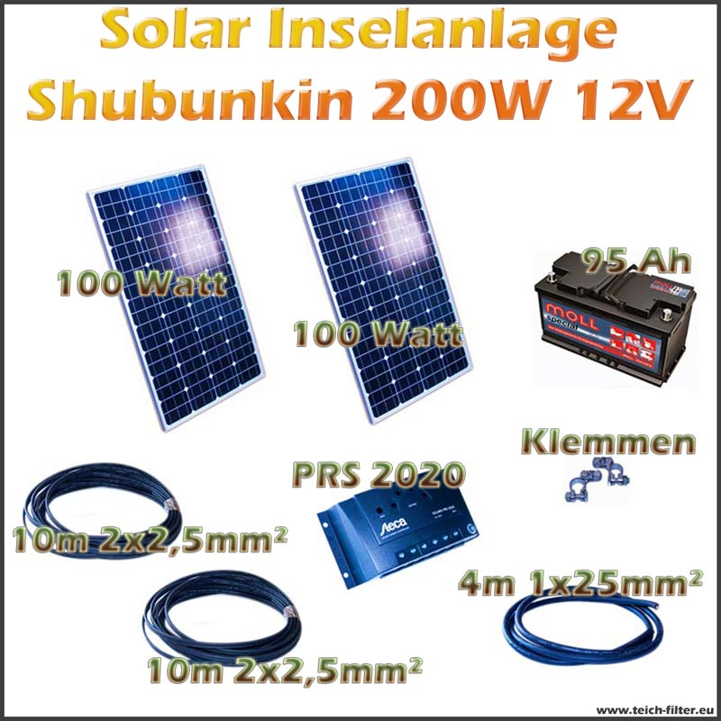 200w 12v solar inselanlage shubunkin f r garten und haus als komplettset. Black Bedroom Furniture Sets. Home Design Ideas