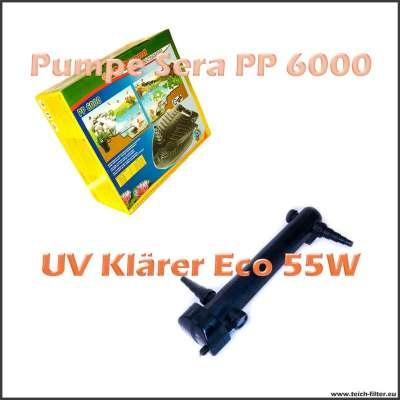 Teichtechnik Set für Koiteich mit Pumpe Sera PP 6000 und UV Klärer 55W Eco