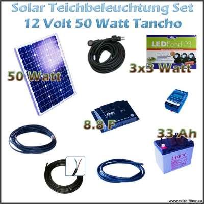 50w 12v solar set f r led teichbeleuchtung 9w mit akku tancho. Black Bedroom Furniture Sets. Home Design Ideas