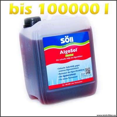 Gegen Algenblüten in Teichen bis 100000 l Wasser sind 5l Söll Algosol forte ausreichend