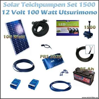 100w 12v solar teichpumpe mit akku und led 1500 utsurimono. Black Bedroom Furniture Sets. Home Design Ideas