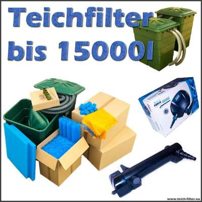 Teichfilter 12 Volt Eco bis 15000 Liter Wasser mit Pumpe und UVC
