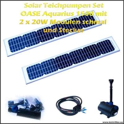 12V Solar Teichpumpen Set 1500 mit 2 Stück schmalen 20 Watt Modulen