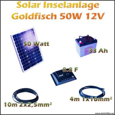 50w 12v solar inselanlage goldfisch f r boot und garage als komplettset. Black Bedroom Furniture Sets. Home Design Ideas