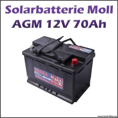 Moll AGM Solarbatterie 12V mit 70-75Ah Kapazität für Garten und Photovoltaik
