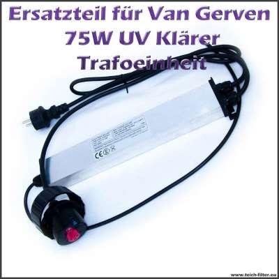 75 Watt Trafo für Van Gerven UVC Klärer mit T5 Fassung rot