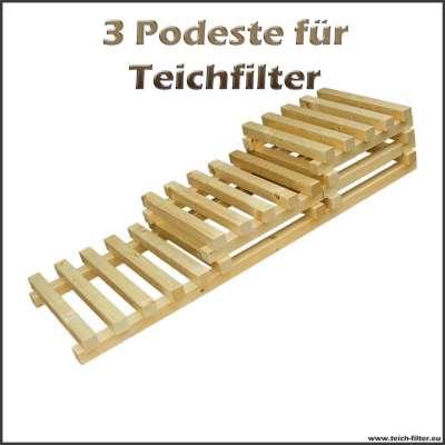 3 Holzpodeste als Unterbau für Teichfilter bis 30000 und 50000 Liter