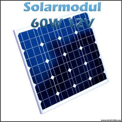 Solarmodul 60W 12V monokristallin für Wohnmobil, Camping und Garten