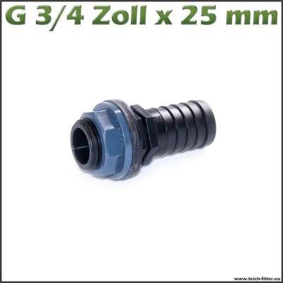 G 3/4 Zoll x 25mm Schlauchanschluss mit Dichtung und Mutter aus PVC-U für Gartenschlauch