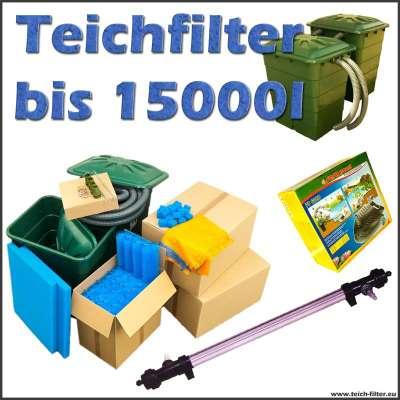 Teichfilter bis 15000 Liter Koi Starter mit Pumpen und extra langem UVC Klärer
