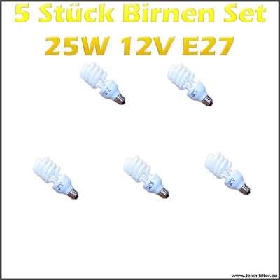 5 Stück Set 25W 12V Birnen mit E27 Fassung für Solaranlagen günstig kaufen