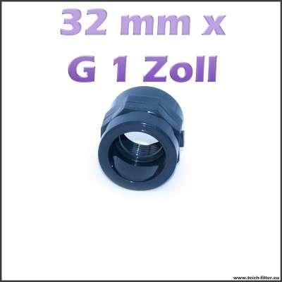 32 mm x G 1 Zoll Gewindemuffe aus Kunststoff für Teichpumpen