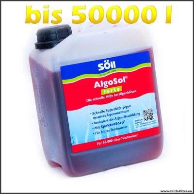 2,5 l Söll Algosol forte gegen Algen im Teich bis zu 50000 l Wasser