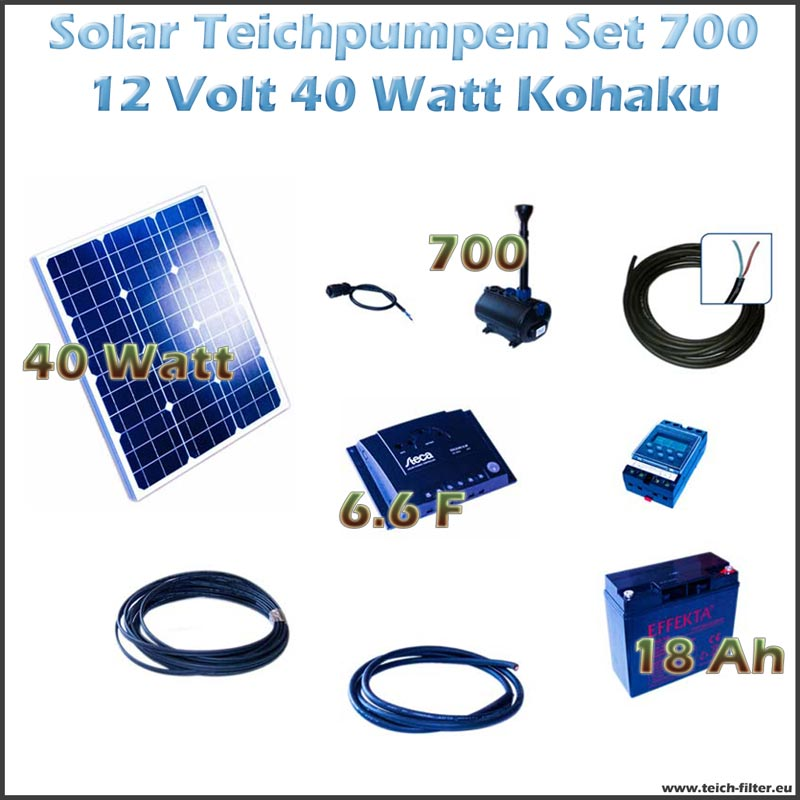 40w 12v solar teichpumpe mit akku als set f r springbrunnen 700 kohaku. Black Bedroom Furniture Sets. Home Design Ideas