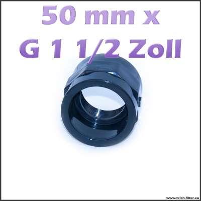 50 mm x G 1 1/2 Zoll Gewindemuffe für Teich und Wasser