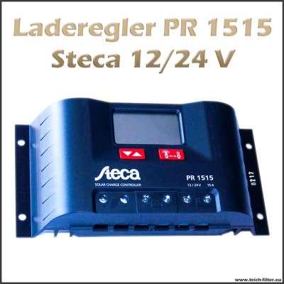 Laderegler 12V bis 24V PR 1515 für 15A von Steca an Solar Inselanlagen am Boot