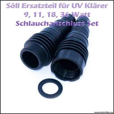 15062 Ersatzteil Schlauchanschluss Set G 1 Zoll für Söll UVC Lampen