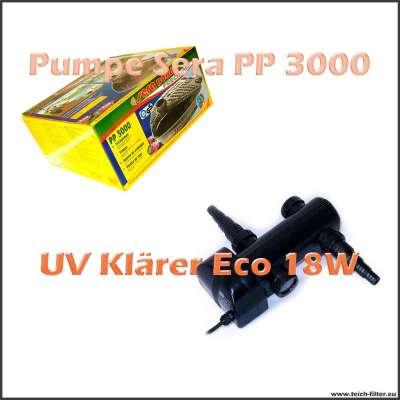 Teichtechnik Set Sera PP 3000 mit 18W Eco UV Klärer für Gartenteich