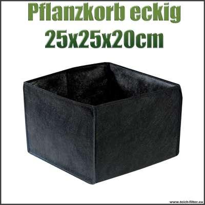 Pflanzkorb oder Pflanztasche eckig textil für Teichpflanzen mit 25 x 25 x 20 cm am Gartenteich
