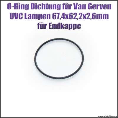 O-Ring Dichtung 67,4 x 62,2 x 2,6 mm für Endkappe an Van Gerven UVC Lampen Koi Professional
